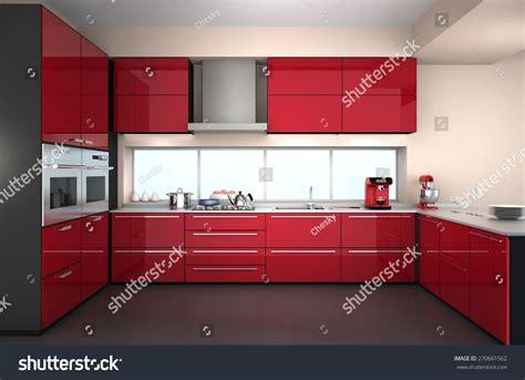 modern kitchen interior 3d rendering modern kitchen interior in red color theme 3d rendering