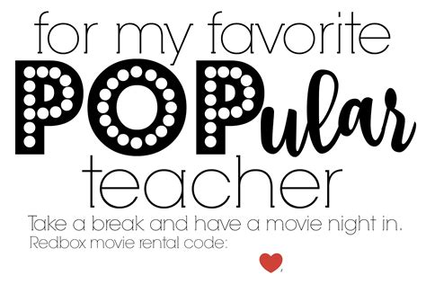 Red Box Movie Rental Gift Card - teacher appreciation redbox printable card gift brie brie blooms