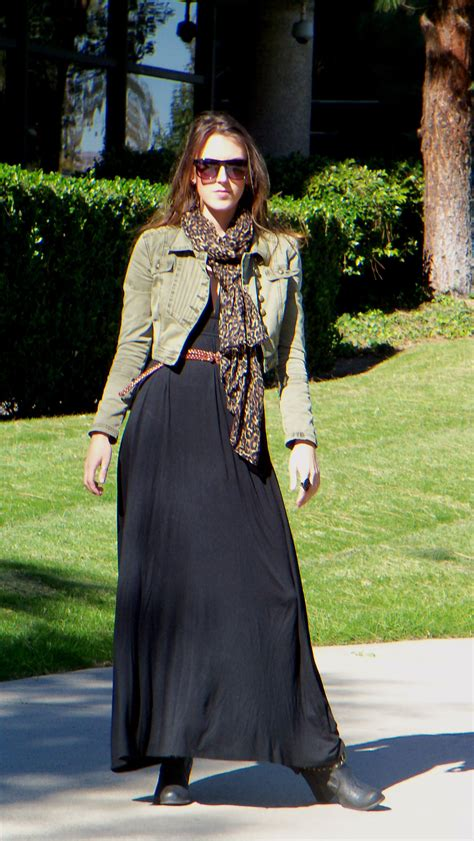 how to wear a maxi dress in the winter jacket scarf belt