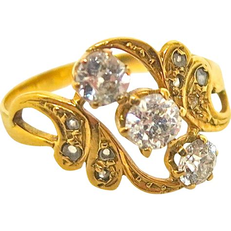 Exciting Art Nouveau Three Diamond Ring from thepearl on