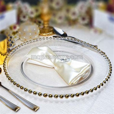 gold beaded glass charger plates gold beaded clear glass charger plates exporters in china
