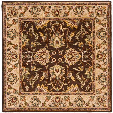 Square Carpets Rugs by Safavieh Heritage Brown Ivory 6 Ft X 6 Ft Square Area