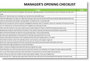 Kitchen Manager Checklist by Restaurant Manager Opening And Closing Checklist Search Work Memos