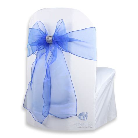 chair covers and bows 200 pcs organza chair cover bow sash 108 quot x8 quot royal blue