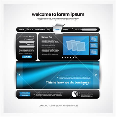 Sleek Blue And Black Website Vector Template Free Photoshop Brushes At Brusheezy Sleek Website Templates