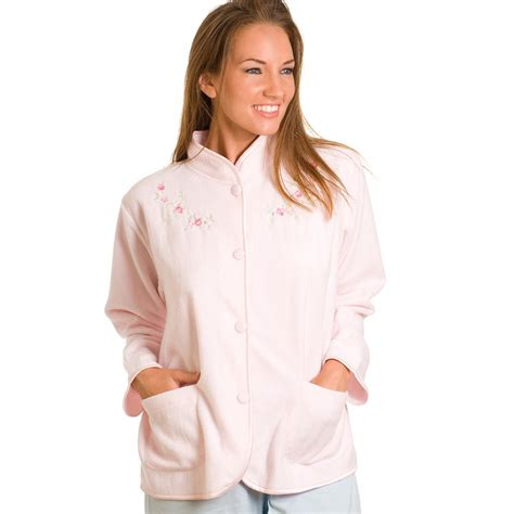 womens bed jacket ladies camille pink embroidered fleece bed jacket womens