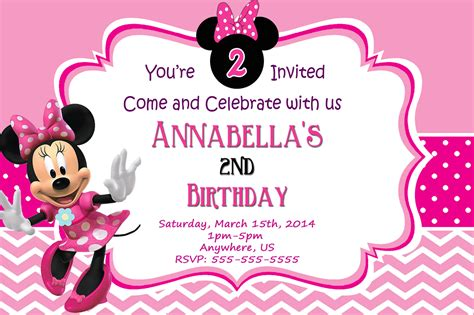 free minnie mouse birthday invitation templates minnie mouse birthday invitations templates ideas all