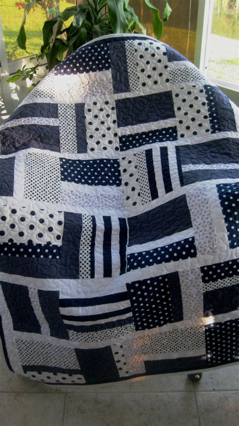 Navy And White Quilt Baby Nursery Crib Quilt Boy Navy Blue White Modern