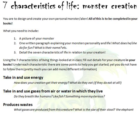 characteristics for biography 7 characteristics of life monster design and zombie year 7