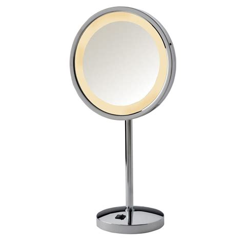 makeup mirror with lights jerdon 9 75 in x 17 5 in led lighted table top mirror in chrome hl1015cl the home depot