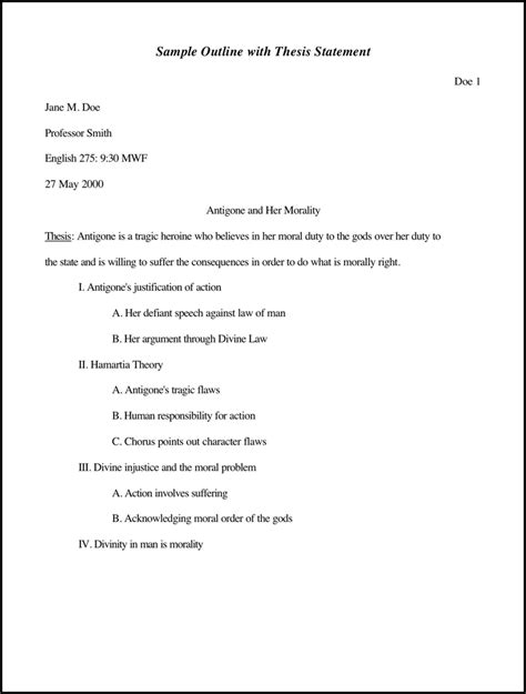 Exle Of Outline Essay by Sle Outline With Thesis Statement For Free Tidyform