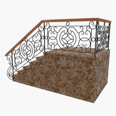 Stair Banister Rail 3d Wrought Iron Stair Railing