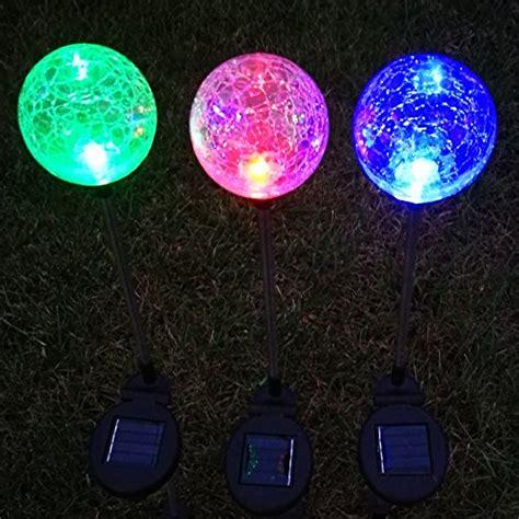 Sogrand 3pcs Pack 3color Solar Lights Outdoor Crackle Glass Solar Garden Lights