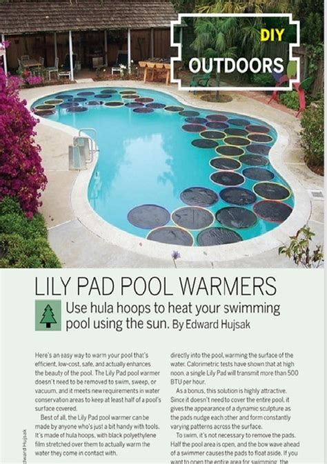 weekend project lily pad pool warmers