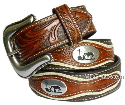 nocona western mens belt leather tooled cowboy prayer