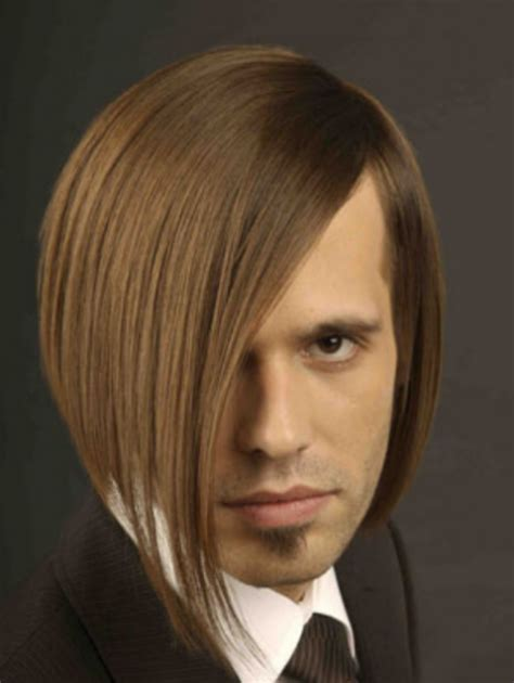 male bob hairstyle male bob hairstyle picture with very long side bangs png