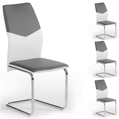 Lot de 4 chaises LEONA PU blanc gris   Achat/Vente chaise