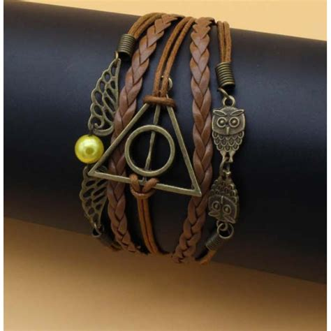 Gelang Dominica Leather Bracelets woven harry potter and deathly hallows wings leather bracelet gelang brown