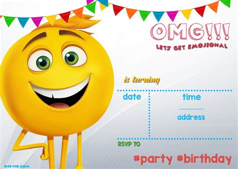 Free Printable Emoji Invitation Template Free Invitation Templates Drevio Emoji Birthday Invitation Template