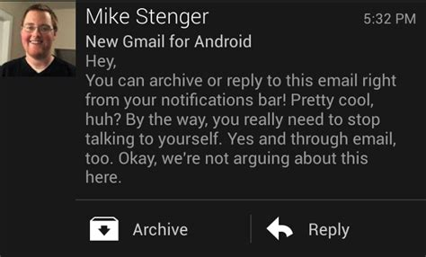 how to turn email notifications on android gmail for android now lets you reply or archive right from