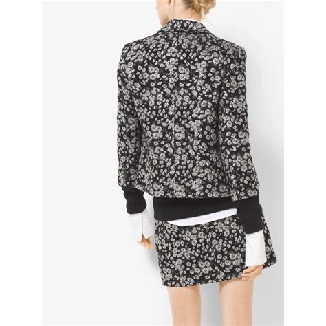 Flower Embroidered Woolen Coat Black White Size Ml lyst michael kors floral metallic embroidered brocade jacket in black