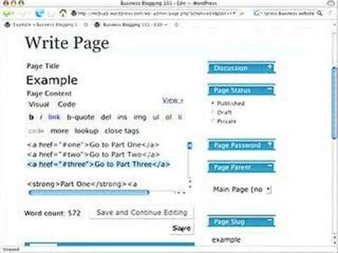wordpress tutorial hyperlink wordpress tutorial make a link to specific place on a page