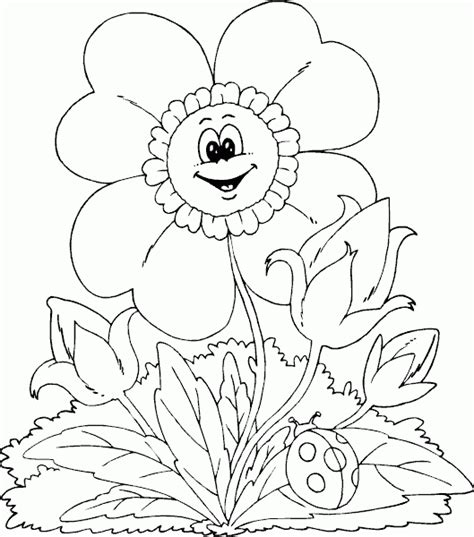 spring flower coloring page coloring com