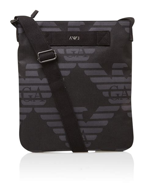 armani all logo pouch bag in black for lyst