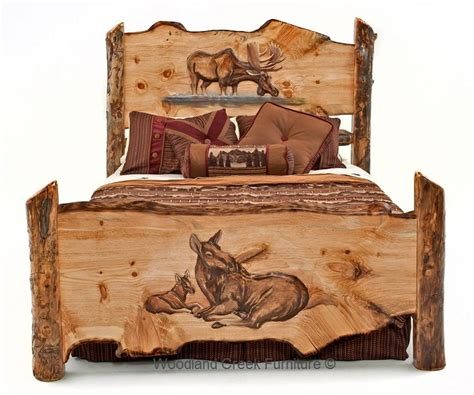 cedar stuff com rustic log furniture pinned with carved log bed with moose by woodland creek rustic log