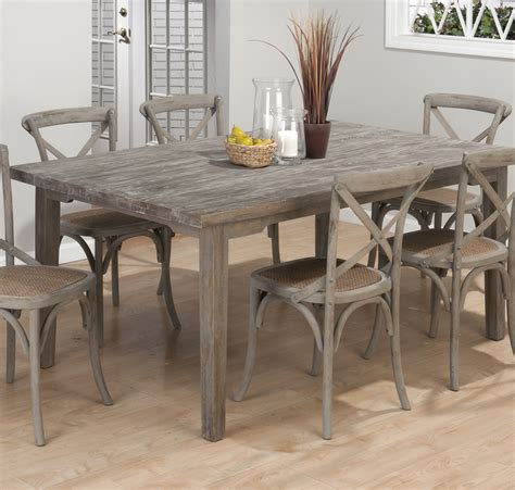 jofran burnt grey rectangle leg dining table w fixed top