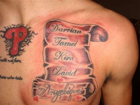 tattoos for men with names 30 beautiful scroll tattoos creativefan