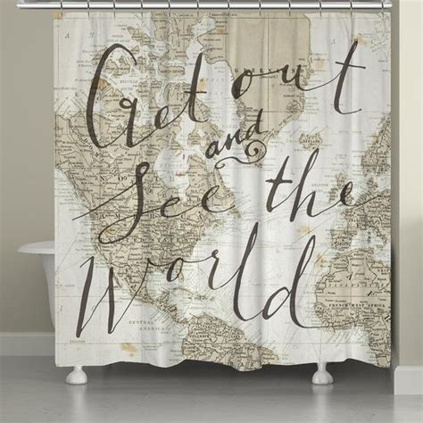 travel curtains get out and see the world shower curtain laural home