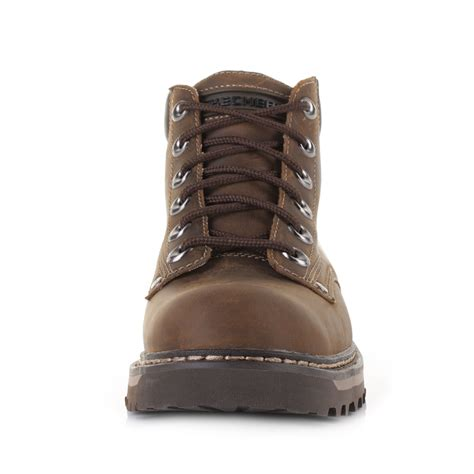 cool mens leather boots mens skechers cool cat bully 2 brown leather work casual