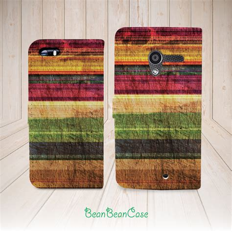 Archi Wood Iphone 5c Custom Flip Cover colorful wood print retro wooden flip pu leather cover