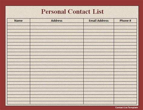 email list template phone email contact list template