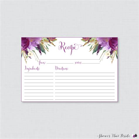 printable bridal shower card purple floral bridal shower recipe cards printable bridal