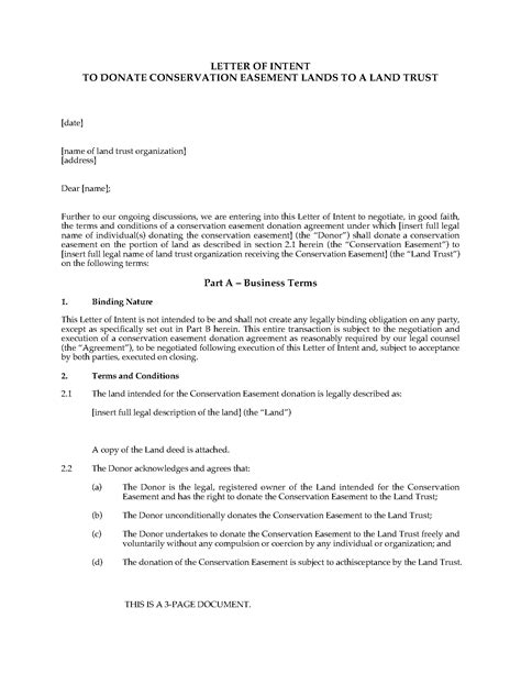 Letter Of Intent Template For Donations Letter Of Intent To Donate Conservation Easement To Land Trust Forms And Business