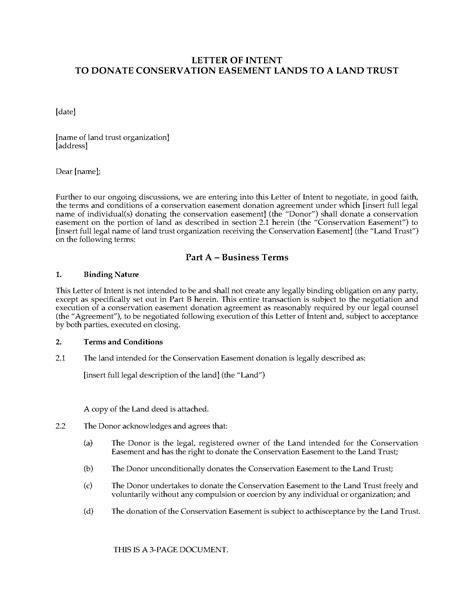 letter intent donate conservation easement land