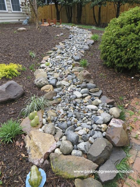 dry river bed landscaping pink and green mama diy backyard makeover on a budget
