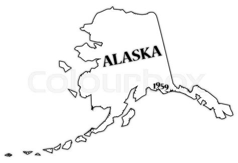 State Of Alaska Property Records An Alaska State Outline With The Date Of Statehood Isolated On A White Background