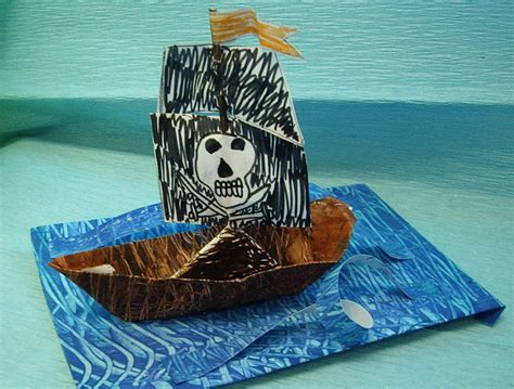 Origami Pirate Ship - use your coloured pencils paper pirate ships