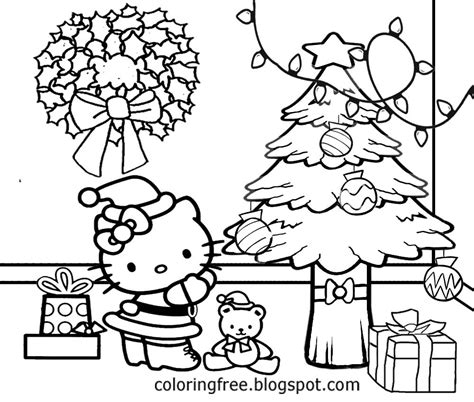 Free Coloring Pages Printable Pictures To Color Kids Drawing ideas: Cute Hello Kitty Christmas