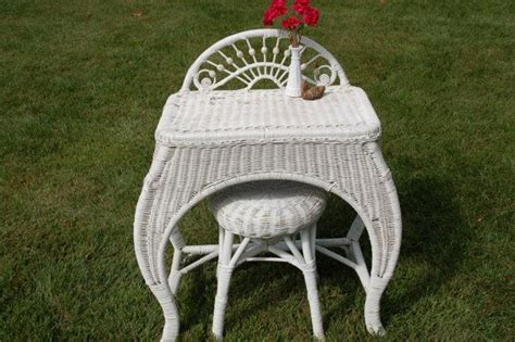 White Wicker Vanity Stool by Antique Wicker Dressing Table And Stool Wicker Vanity