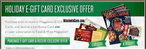 Maggiano S Gift Card - maggiano s bonus gift card offer food and wine mag or
