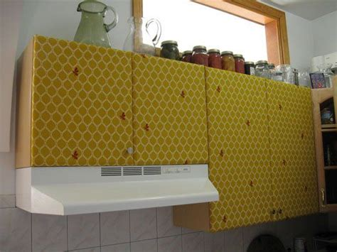 how to cover the kitchen cabinets in fabric