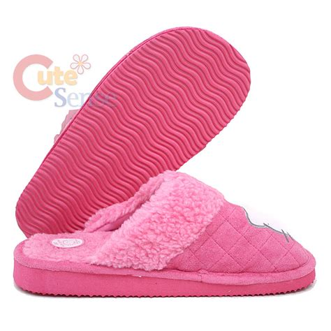 hello slippers adults sanrio hello pink quilted plush slipper one size