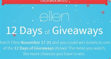 ellen 12 days of giveaways 2014 sweeps maniac - Ellen Degeneres 12 Days Of Giveaways 2014