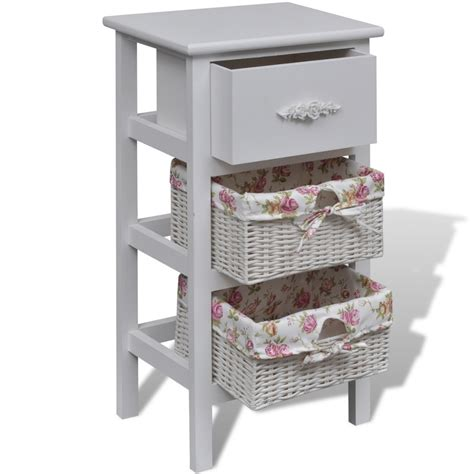 vidaxl co uk white cabinet with 1 drawer and 2 baskets wood
