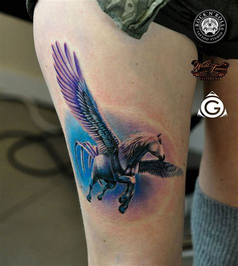 pegasus tattoo pegasus thigh best ideas designs