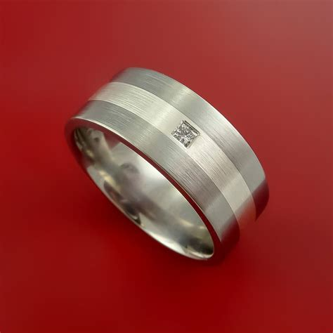titanium silver setting ring band made to any size